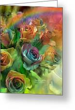 Rainbow Roses Greeting Card by Carol Cavalaris