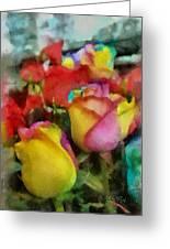 Rainbow Roses Watercolor Digital Painting Greeting Card by Eti Reid
