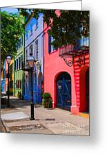 Rainbow Row Charleston Greeting Card by Skip Willits