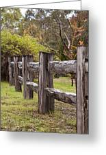 Raindrops On Rustic Wood Fence Greeting Card by Michelle Wrighton