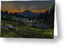 Rainier Sunset Basin Greeting Card by Mike Reid