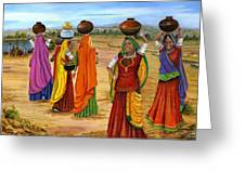 Rajasthani  Women Going Towards A Pond To Fetch Water Greeting Card by Vidyut Singhal