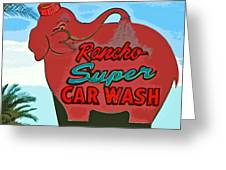 Rancho Super Car Wash Greeting Card by Charlette Miller
