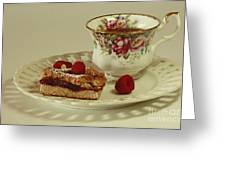 Raspberry Almond Square And Herbal Tea  Greeting Card by Inspired Nature Photography By Shelley Myke