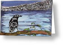 Raven And Ice Greeting Card by Carolyn Doe