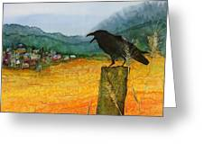 Raven And The Village 2 Greeting Card by Carolyn Doe