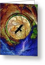 Raven Hawk And The Moon Greeting Card by The Feathered Lady