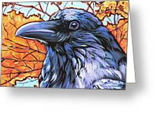 Raven Head Greeting Card by Nadi Spencer