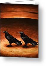 Ravens Greeting Card by Mark Zelmer