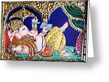 Reading Ganesha Greeting Card by Jayashree