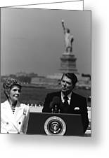 Reagan Speaking Before The Statue Of Liberty Greeting Card by War Is Hell Store