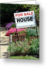 Real Estate For Sale Sign And Garden Greeting Card by Olivier Le Queinec