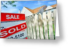 Real Estate Sold Sign Greeting Card by Olivier Le Queinec