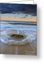 Receding Wave Stormy Seascape Greeting Card by Katherine Gendreau