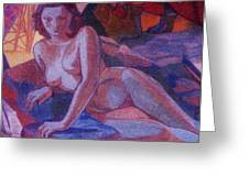 RECLINING NUDE   ART DECO Greeting Card by Gunter  Hortz