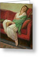 Reclining With Book Greeting Card by Sarah Parks