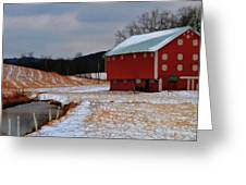 Red Amish Barn In Winter Greeting Card by Dan Sproul
