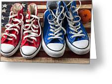 Red And Blue Tennis Shoes Greeting Card by Garry Gay