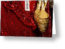 Red And Gold Holiday Greeting Card by Toni Hopper