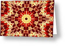 Red And White Patchwork Art Greeting Card by Barbara Griffin