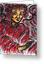 Red Angel Greeting Card by Rachel Scott