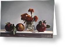 Red Apples And Marigolds Greeting Card by Larry Preston