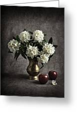 Red Apples And White Rhododendron Greeting Card by Jitka Unverdorben