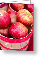 Red Apples In Baskets At Farmers Market Greeting Card by Teri Virbickis