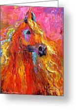 Red Arabian Horse Impressionistic Painting Greeting Card by Svetlana Novikova