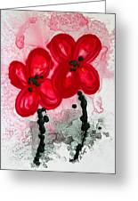 Red Asian Poppies Greeting Card by Sharon Cummings