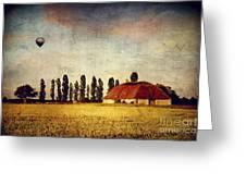 Red Barn - Field And A Balloon Greeting Card by Dirk Wuestenhagen