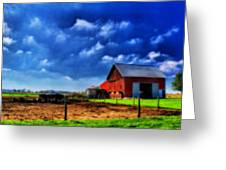 Red Barn And Cows In Ohio Greeting Card by Dan Sproul