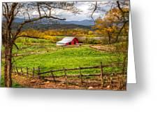 Red Barn Greeting Card by Debra and Dave Vanderlaan