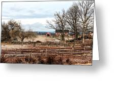 Red Barn In The Field Greeting Card by John Rizzuto