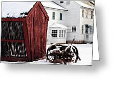 Red Barn In Winter Greeting Card by John Rizzuto