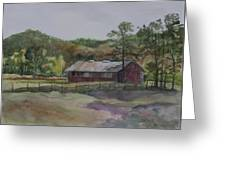 Red Barn Greeting Card by Janet Felts