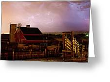 Red Barn On The Farm And Lightning Thunderstorm Greeting Card by James BO  Insogna