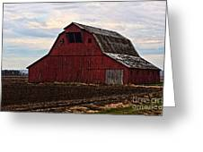 Red Barn Photoart Greeting Card by Debbie Portwood