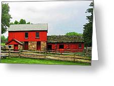 Red Barn With Fence Greeting Card by Susan Savad