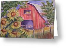 Red Barn With Sunflowers Greeting Card by Belinda Lawson