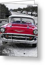 Red Belair At The Beach Standard 11x14 Greeting Card by Edward Fielding