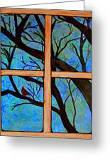 Red Bird Out My Window Greeting Card by Vicki Kennedy
