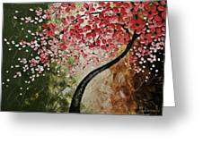 Red Blossoms Greeting Card by Tomoko Koyama