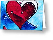 Red Blue Heart Love Painting Pop Art Joy by Megan Duncanson Greeting Card by Megan Duncanson