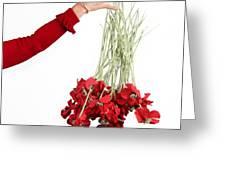 Red Bouquet Greeting Card by Bernard Jaubert
