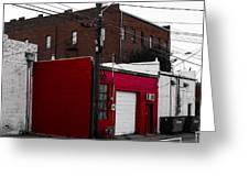 Red Building Greeting Card by Nathan Hillis