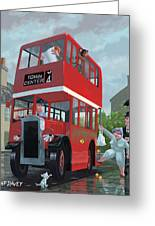 Red Bus Stop Queue Greeting Card by Martin Davey