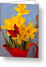 Red Butterfly On Daffodils Greeting Card by Garry Gay