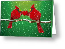 Red Cardinal Bird Pair Heart Christmas Greeting Card by Frank Ramspott