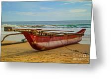 Red Catamaran At The Hikkaduwa Beach Greeting Card by Regina Koch